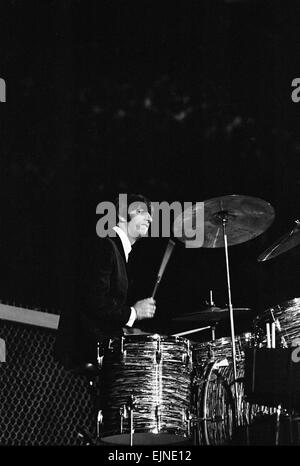 British pop group The Beatles performing on stage in Las Vegas during their visit to the USA. Drummer Ringo Starr. - Stock Photo