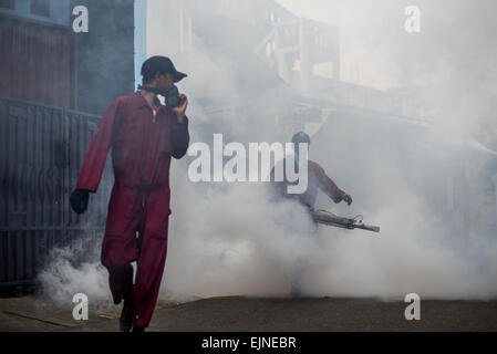 Jakarta, Indonesia. 30th Mar, 2015. Mosquito fogging is held in suburban area of Kebon Jeruk, a sub-district in - Stock Photo