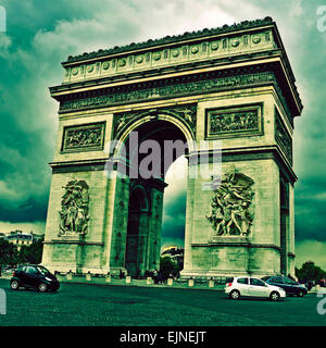 picture of the Arc de Triomphe, in Paris, France, with a retro effect - Stock Photo