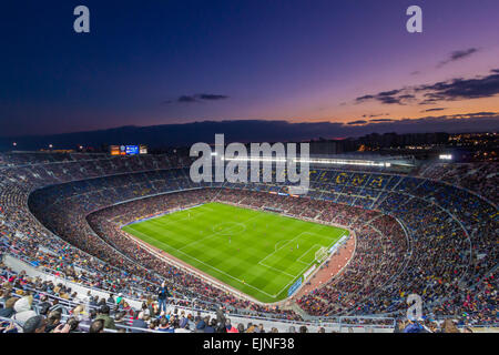 Camp Nou is a football stadium in Barcelona, Catalonia, Spain, which has been the home of Futbol Club Barcelona - Stock Photo