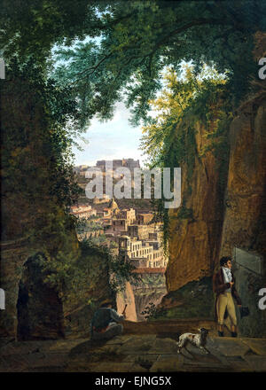 View from Virgil`s Tomb over the City of Napels with the Castel Sant Elmo 1818 Franz Ludwig Catel 1778 – 1856 German - Stock Photo