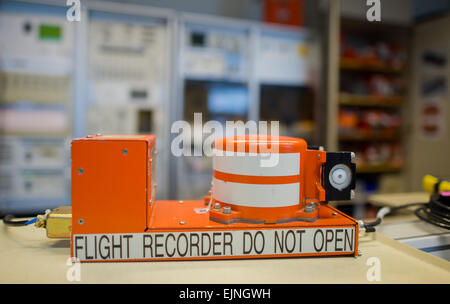 Braunschweig, Germany. 30th Mar, 2015. A flight recorder is seen at the German Federal Bureau of Aircraft Accidents - Stock Photo