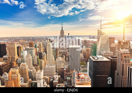 Manhattan aerial view - Stock Photo