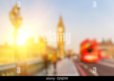 Bokeh of Big Ben and Westminster bridge, London - Stock Photo