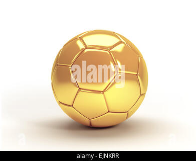 Gold soccer ball isolated on white background Stock Photo