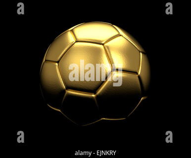 Gold soccer ball isolated on black background Stock Photo