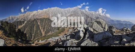 Scenic panorama of Himalayas in Himachal Pradesh, India - Stock Photo