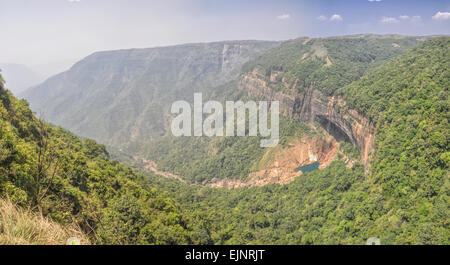 Beautiful Nohkalikai waterfalls in Cherrapunji, India - Stock Photo