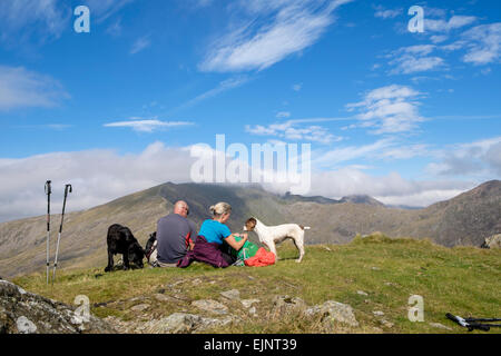 Walkers with dogs resting on Yr Aran mountain top summit with view to cloud covered Mount Snowdon in mountains of - Stock Photo