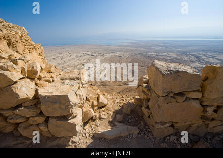 View from Masada in Israel to the dead sea - Stock Photo