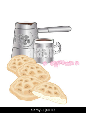 an illustration of Turkish flat bread with traditional coffee jug and mug with pink Turkish delight on a white background - Stock Photo