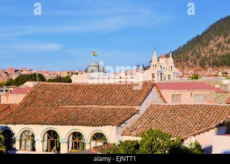 Sucre cityscape with Roofs, constitutional capital of Bolivia - Stock Photo