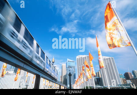Darling Harbour monorail Sydney New South Wales Australia - Stock Photo