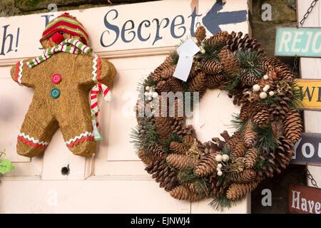 UK, England, Yorkshire, Grassington, Dickensian Festival, Christmas decorations on display - Stock Photo