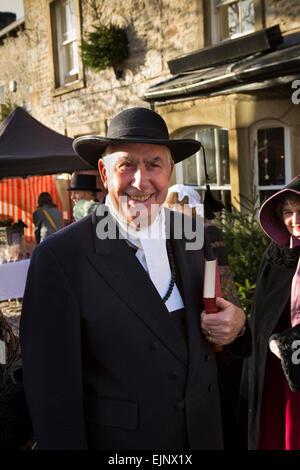 UK, England, Yorkshire, Grassington, Dickensian Festival, 'Parson' Bill Cain in costume - Stock Photo