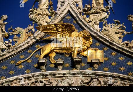 italy, venice, basilica di san marco, the lion symbol of the city - Stock Photo