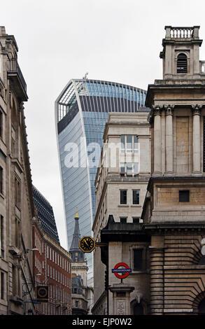 Church of Saint Mary Woolnoth. Lombard Street, City of London, England, United Kingdom, Europe. - Stock Photo
