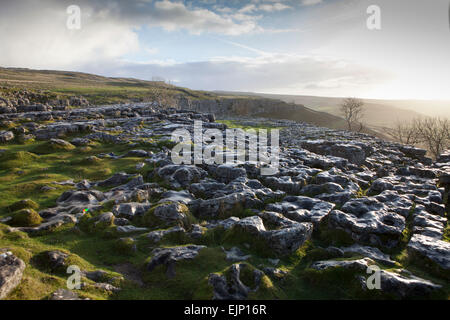 Limestone Pavement above Malham Cove in North Yorkshire - Stock Photo