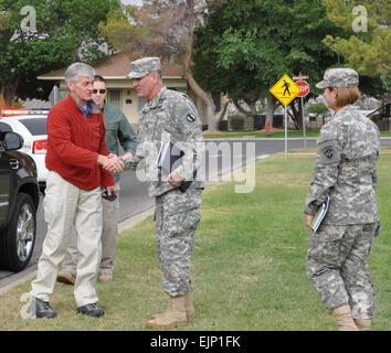Brig. Gen. Randal Dragon, left, commander of the Brigade Modernization Command, greets Secretary of the Army John - Stock Photo