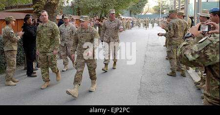 KABUL, Afghanistan - U.S. Army Staff Sgt. Ben Dellinger, retired front left; U.S. Army Capt. Casey Wolfe front right; - Stock Photo