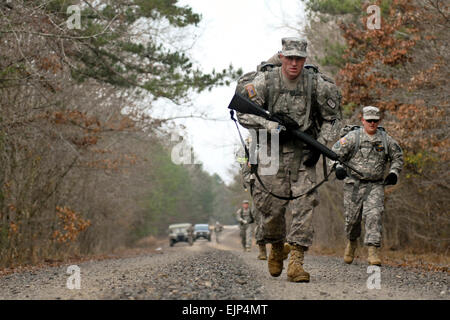U.S. Army Cpl. Bryan Kyle, a combat engineer with the 688th Engineer Company, 489th Engineer Battalion, 420th Engineer - Stock Photo