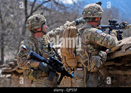 U.S. Army 1st Sgt. Patrick S. Connell, 3rd Battalion Airborne, 509th Infantry Regiment, Task Force Gold Geronimo - Stock Photo