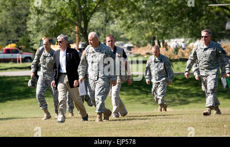 Secretary of the Army John McHugh is given a tour of Muscatatuck Urban Training Center by Maj. Gen. R. Martin Umbarger, - Stock Photo