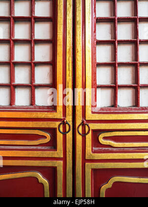 China, Beijing, Forbidden City, Hall of Supreme Harmony, Outer Court, doorway detail - Stock Photo