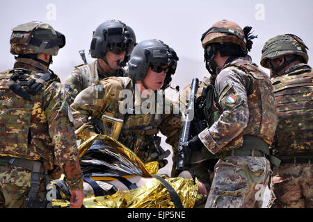 Flight medical personnel from Charlie Company 1-168th  General Support Aviation Battalion, center, gather information - Stock Photo