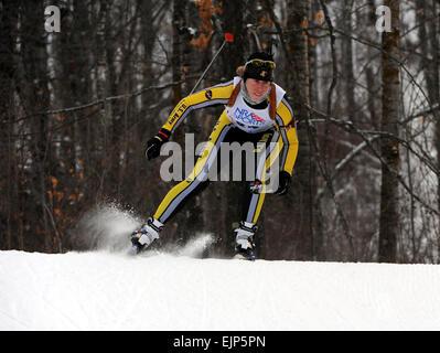 U.S. Army World Class Athlete Program biathlete, 1st Lt. Jennifer Wygant, skis to victory in the women's 7.5-kilometer - Stock Photo
