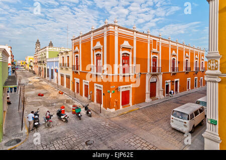 downtown street with typical colonial buildings in Campeche, Mexico. - Stock Photo