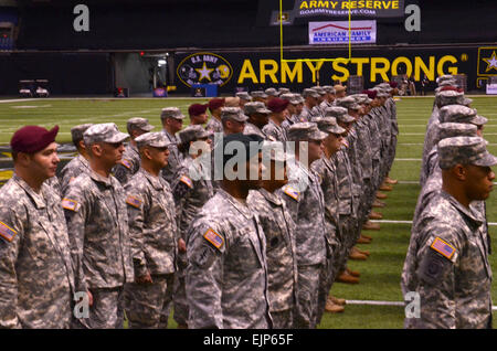 Soldier Heroes stand at attention at the Alamodome in San Antonio Jan. 3, 2013. Soldier Heroes are scheduled to - Stock Photo