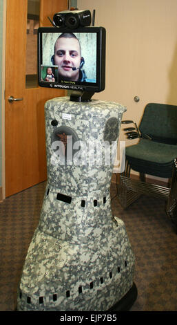 Army Staff Sgt. Erik Lloyd's face is displayed through an RP-7 robot at Brook Army Medical Center on Fort Sam Houston, - Stock Photo