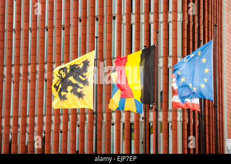 Flags of Belgium, Flanders, Bruges and EU - Stock Photo