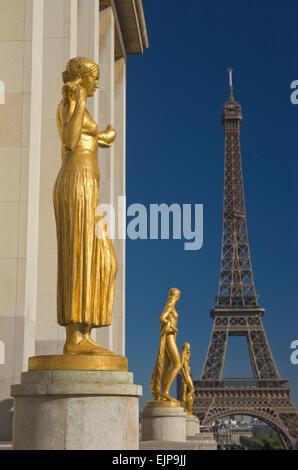 ROW OF GILDED GOLDEN STATUES PLACE DU TROCADERO PALAIS DE CHAILLOT EIFFEL TOWER PARIS FRANCE - Stock Photo