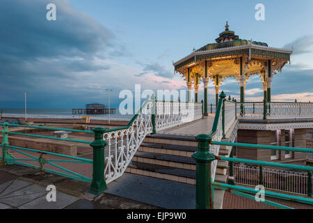 Evening at Brighton bandstand, East Sussex, England. - Stock Photo