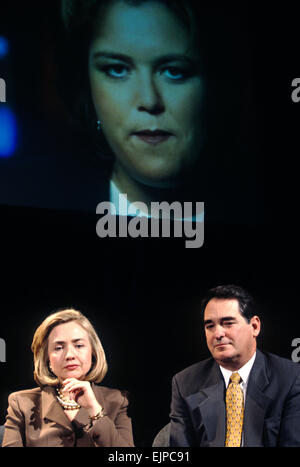 US first lady Hillary Clinton with Congressmen Billy Tauzin during an event on smarter television watching at the - Stock Photo