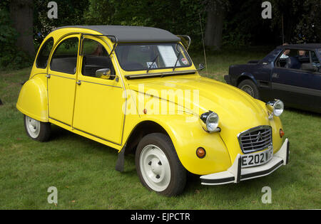 yellow citroen deux chevaux 2cv with matching camper trailer stock photo royalty free image. Black Bedroom Furniture Sets. Home Design Ideas