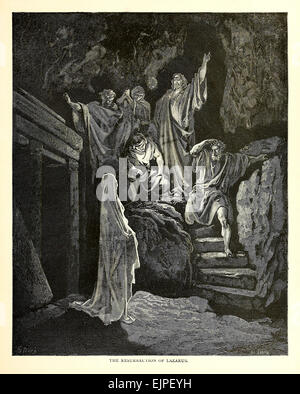 The Resurrection of Lazarus - Illustration by Paul Gustave Doré (1832-1883) from 1880 edition of the Bible. See - Stock Photo