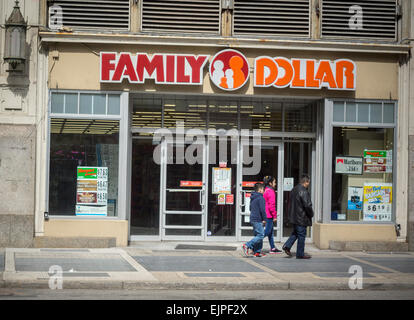 A Family Dollar discount store in downtown Newark, New Jersey's largest city, is seen on Saturday, March 28, 2015. - Stock Photo