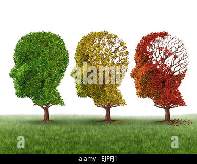 Memory loss and brain aging due to dementia and alzheimer's disease as a medical icon of a group of color changing - Stock Photo