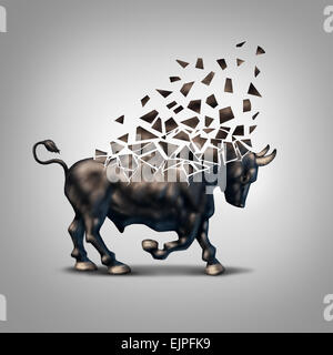 Fragile bull market financial crisis concept as an economic symbol for a crumbling positive forecast and investments - Stock Photo