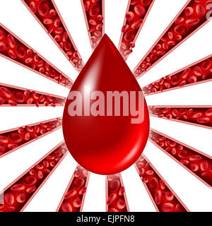 Blood donation symbol as red cells flowing through veins and human circulatory system with a group of arteries shaped as a starburst pattern representing a cardiovascular medical health care symbol.