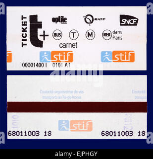 Métro de Paris Train and Subway Tickets - Stock Photo