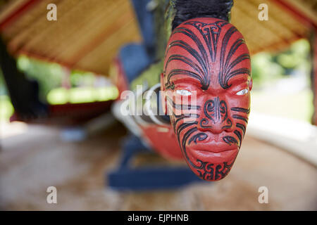 Whare Waka Canoe House, Waitangi, North Island, New Zealand - Stock Photo