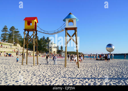 Artwork on display at the 2015 Sculpture By the Sea event. Cottesloe Beach, Perth. Western Australia. - Stock Photo