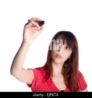 Close up Young Woman Holding Marker Pen Up - Stock Photo