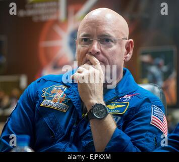 International Space Station Expedition 43 Commander NASA Astronaut Scott Kelly during the crew press conference - Stock Photo
