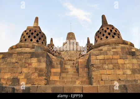 Stupa in Borobudur Temple on Java island - Stock Photo