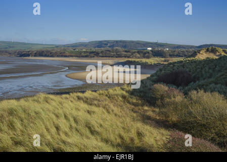 View of sand dunes and estuary, Duddon Sands, Duddon Estuary, Sandscale Haws N.N.R., Cumbria, England, November - Stock Photo